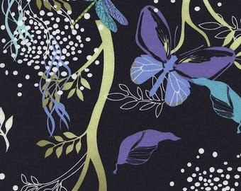 SALE 10% Off - Night Garden in Navy (C3358) - MIDSUMMER'S Eve by Alice Kennedy - Timeless Treasures Fabric - By the Yard