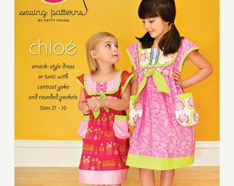 SALE 10% Off - CHLOE - Modkid Sewing Pattern by Patty Young - Smock-style dress or tunic with contrast yoke and rounded pockets - Sz 2-10
