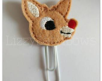 Planner clip, bookmark, planner feltie clip, felt bookmark, reindeer feltie clip,  rudolph clip, Rudolph the red nosed reindeer