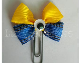 Minions clip, bookmark, planner bow clip, bow bookmark, blue jean, yellow, one eye, googly eye, despicable me inspired