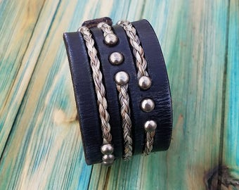 Horse Hair and Leather Cuff Bracelet with Embedded  Horsehair