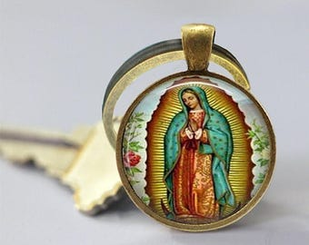 ON SALE Our Lady of Guadalupe Key Chain, Virgin Mary Key Ring, Religious Catholic Art KeyChain