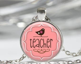 ON SALE Teachers Jewelry Teacher Appreciation Back to School Pink and Brown Bird Art Pendant in Bronze or Silver with Link Chain Included
