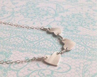 """SALE Small Simple Heart Trio Sterling Silver Necklace in 18"""" , 19"""" , 20"""" , 21"""" , 22"""" length"""