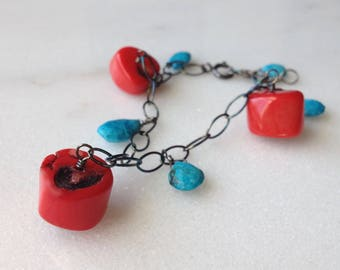 Red Coral Turquoise Sterling Silver Bracelet Red Blue Stone Black Oxidized Sterling Silver Chain Genuine Red Coral Turquoise Gemstones