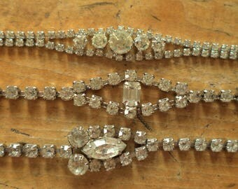 Retro Vintage Collection LOT Clear Rhinestone Bracelets Unsigned Vintage Bride Jewelry Priced to Sell