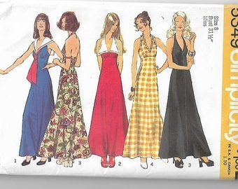Vintage Sewing Pattern Simplicity 5349 1970s Maxi Length Halter Dress Size 8
