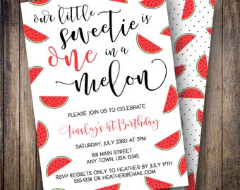 One in a Melon Party, Red Watermelon Birthday Invitation, Watermelon Party, Calligraphy, Summer Birthday Invite, Red, Green, Black