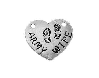 Army Wife Charm Army Charm Army Wife Pendant Silver Heart Pendant Word Charm Pendant Connector Heart Link