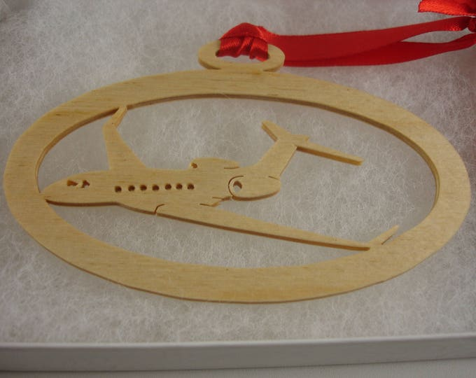 Gulfstream G-550 Christmas Ornament Handmade From Birch Wood by KevsKrafts