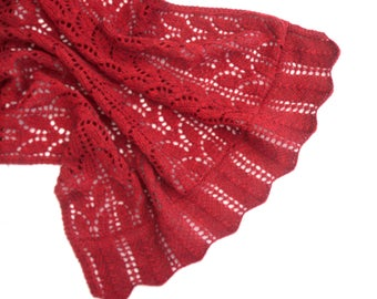 Red Lace shawl , hand knitted alpaca / merino wrap , original design , hand knit lacy bed throw , handmade women's wear , gift for her