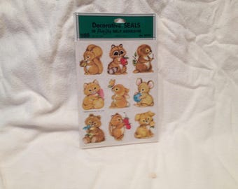 Woodland Animal New Old Stock Sealed 36 Self Adhesive Stickers Mice Squirles Cat Dog Bunnies Bear #65101 USA