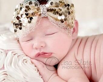 12% off Baby headband, newborn headband, adult headband, child headband and photography prop The single sprinkled-Holiday sequin headband