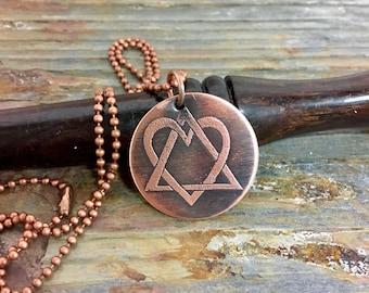 adoption symbol etched copper necklace, adoption triad, symbol of adoption