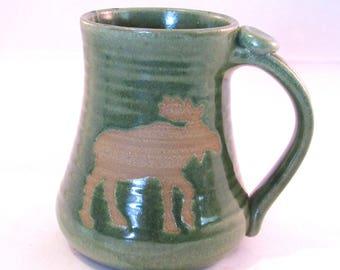 Moose Mug Coffee - Tea Cup - Wild Animal Silhouette - Handmade Pottery - Pottersong - Bright Green Mug - Moose Silhouette