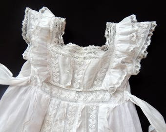 Fine French Christening Gown Hand Embroidery with lots of Lace Elegant Sweet and Dainty