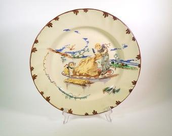 Large French Antique Creil et Montereau Hand Decorated Platter Richard Froment c. 1900 'Parisien' series