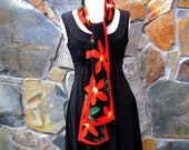 Orange flowers on black silk chiffon, nuno felt scarf