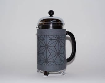 "French Press ""Bean Belt"" Coffee Cozy - ""Geometric Compasses"" Pewter Gray, Bodum Cozy, Nautical French Press Cosy, Cafetiere Cosy"