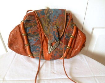 Vintage 80's Southwestern style Leather Samir Shoulder Bag