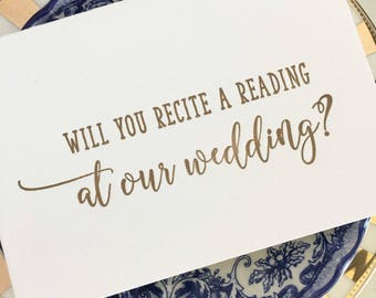 Wedding Reading Card, Will You Recite a Reading at our Wedding Card, Reader Wedding Proposal Card, Wedding Reader, Bridal Party Cards, Gold