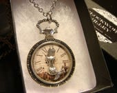 Mermaid Clock Pocket Watch Style Pendant Necklace (2418)