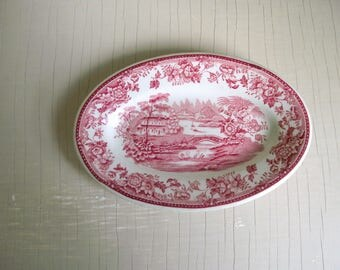 Red Clarice Cliff Plate , Small Red Transferware Plate , Royal Staffordshire Tonquin Dish , Vitrified Hotelware