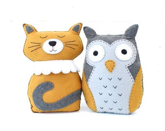 Cat Sewing PATTERN, Owl Sewing Pattern, The Owl and The Pussycat, Felt Cat Owl Stuffed Animals, PDF Hand Sewing
