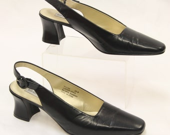 "BELLINI 'William"" Womens Black Leather Slingback Block Heels Sz 12 ak7032"