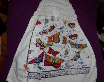 Butterfly printed kitchen towel with white crochet hanging top - ctd