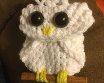 Crochet Owl Ornament or Pin