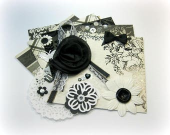 Black and White Embellishment Kit / Life Project Kit/ Inspiration Kit/ Junk Journal Kit /Scrapbooking Cards Mini Albums Tags Paper crafts