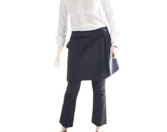 Wrap skirt adjustable - Navy stripe - Cover up bottom - menswear stretch suiting - pocket bottom - velcro closure