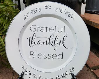 Wood White plate Grateful Thankful Blessed- faith Vinyl Lettering wall sign words decal family custom  decals bedroom Home decor