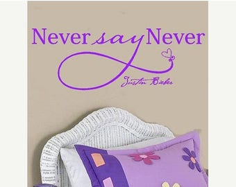 20% OFF Never say Never Justin Bieber-Vinyl Lettering wall words  quotes graphics Home decor itswritteninvinyl