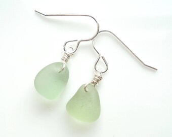 Seaham Sea Glass hook earrings of Soft Sage Green drops suspended from Sterling Silver hooks - E1766 - from Seaham,  UK