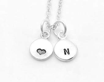 Mini Initial Necklace with Heart, Sterling Silver, Tiny Initial, Hand Stamped Jewelry, Heart Necklace, Letter N Necklace, All Letters Avail