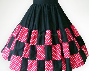 Black and Red Polka Dot Patchwork 50s Swing Skirt Rockabilly Full Circle Skirt Party Skirt Pin Up Clothing