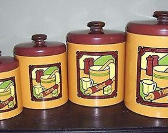 Vintage Ransburg Canister Set Flour Tea Sugar Coffee Kitchen Metal
