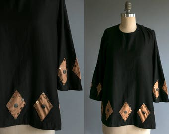 1920's Theatrical Blouse with Metal Sequins and Diamond Cut Outs / Women's / Vintage / Antique / 20's Flapper Style / 1920's Costume