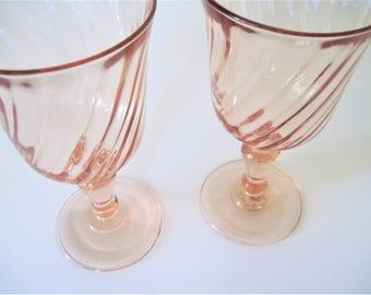Vintage Pink Goblets, Luminarc Pink Glasses, Pink Swirl Goblets, Pink Water Goblets, France Goblets, Rosaline Pink Glass, Pink Goblets, Pink