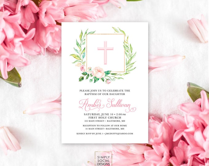 Floral Baptism Invitation - First Holy Communion Blush Pink Personalized Custom Peony Flowers Pink Gold Baptism Printable Party Invite