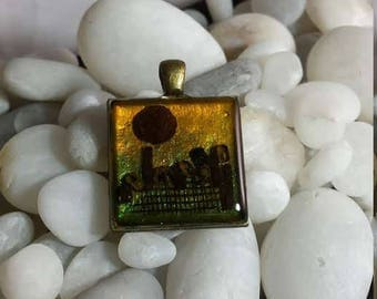 Sunset City Hand Layered Desert Holographic Gold Holographic Enamel Cityscape Upcycled Reclaimed Treasures Resin Pendant Life After Discard