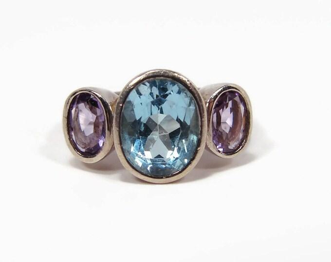 Sterling Silver Blue Topaz Amethyst Ring, Size 6, Bezel Set Gemstones, 925 Silver