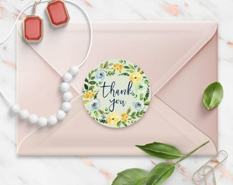 Thank You stickers, Spring Green Floral Watercolor Wreath, Round Cut Sticker for Etsy Sellers, Wedding, Party, Matte Lamination Finish