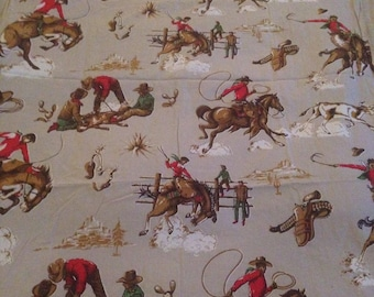 Very Rare 40's  Wild West Cowboy 36  inches wide-1 yard