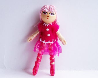 Pink ballerina 2.5 inch tiny pocket bendy doll, dollhouse doll, miniature doll, ooak doll, handmade doll, hand-painted doll, hand-sewn doll