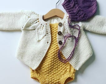 Baby Set, Sweater, Romper, Bonnet