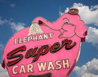 Seattle Pink Elephant Super Car Wash Print   Mid Century Art   Seattle Art   Neon Sign   Mid Century Modern Wall Art   Neon Sign Art