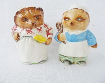 Vintage Mr.-Mrs. Hedgehog Chef Baker Salt & Pepper Shakers - FREE SHIPPING